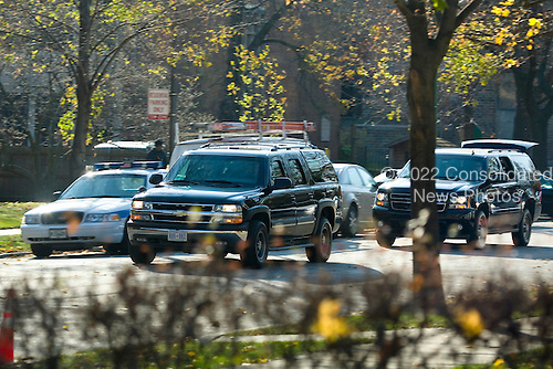 President-Elect Barack Obama's motercade leaves his residence in Chicago's Hyde Park neighborhood on route to his transition office downtown.