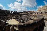 The inside of the Colosseum is seen on Wednesday, Sept. 23, 2015, in Rome, Italy. (Photo by Barbara Brosher)