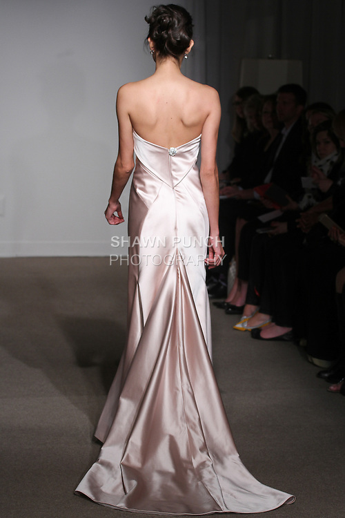 "Model walks runway in a Lana Evening bridal gown from the Anna Maier Couture Spring 2016 ""Collection 43"" during New York Bridal Fashion Week Spring 2016."