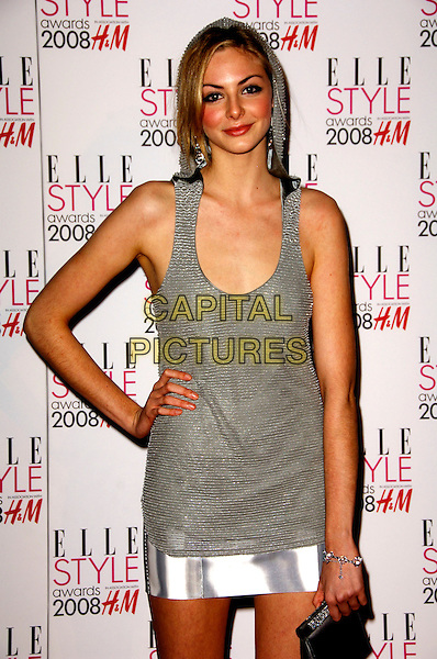 TAMSIN EGERTON.ELLE Style Awards 2008, The Westway, London, England..February 12th, 2008.half length grey gray silver dress tank top hand on hip .CAP/CAS.©Bob Cass/Capital Pictures.