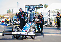 Feb 7, 2020; Pomona, CA, USA; Crew members for NHRA top fuel driver Antron Brown during qualifying for the Winternationals at Auto Club Raceway at Pomona. Mandatory Credit: Mark J. Rebilas-USA TODAY Sports
