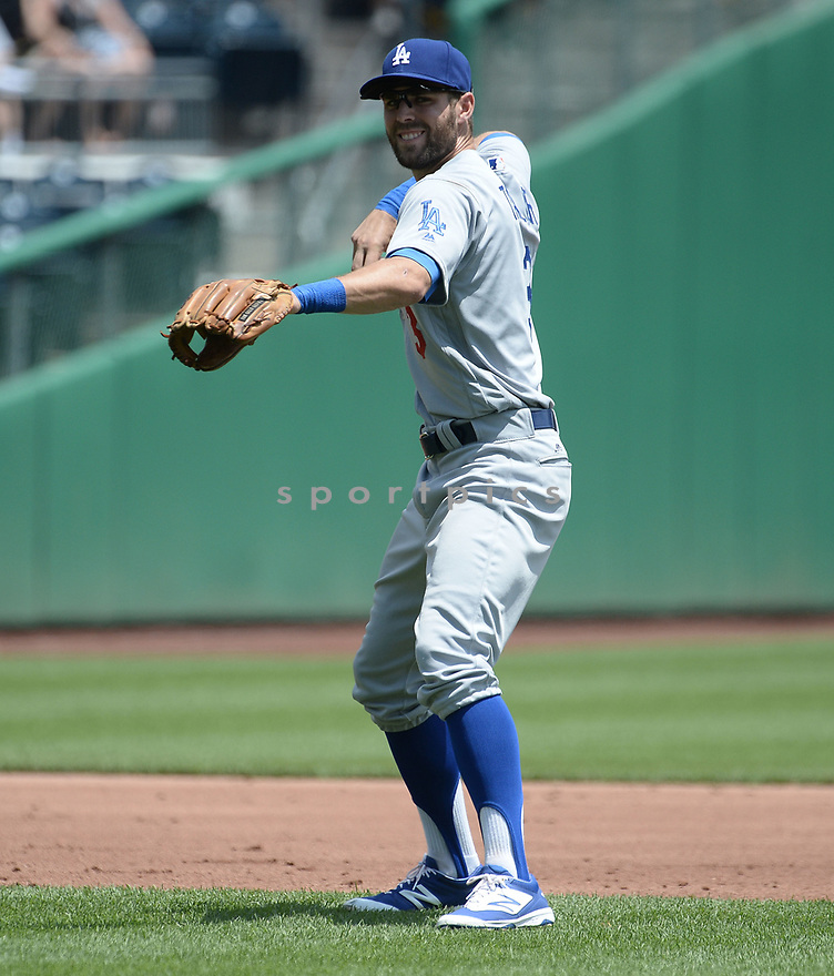 Los Angeles Dodgers Chris Taylor (3) during a game against the Pittsburgh Pirates on June 27, 2016 at PNC Park in Pittsburgh, PA. The Dodgers beat the Pirates 4-3.