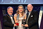 Ciara Mackey, Newcastle Glees Musical Society, County Down who won Best Female Singer / Gilbert Section for her performance as 'Janet Van De Graff in The Drowsy Chaperone'' receiving the trophy from on  left, Colm Moules, President, AIMS and Seamus Power, Vice-President at the Association of Irish Musical Societies annual awards in the INEC, KIllarney at the weekend.<br /> Photo: Don MacMonagle -macmonagle.com<br /> <br /> <br /> <br /> repro free photo from AIMS<br /> Further Information:<br /> Kate Furlong AIMS PRO kate.furlong84@gmail.com