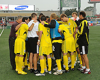 Columbus Crew in their pre-game huddle at  BMO Field on Saturday September 13, 2008. .The game ended in a 1-1 draw.