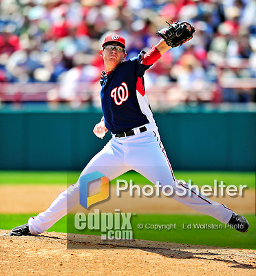 14 March 2010: Washington Nationals' pitcher Tyler Clippard on the mound during a Spring Training game against the St. Louis Cardinals at Space Coast Stadium in Viera, Florida. The Cardinals defeated the Nationals 7-3 in Grapefruit League action. Mandatory Credit: Ed Wolfstein Photo