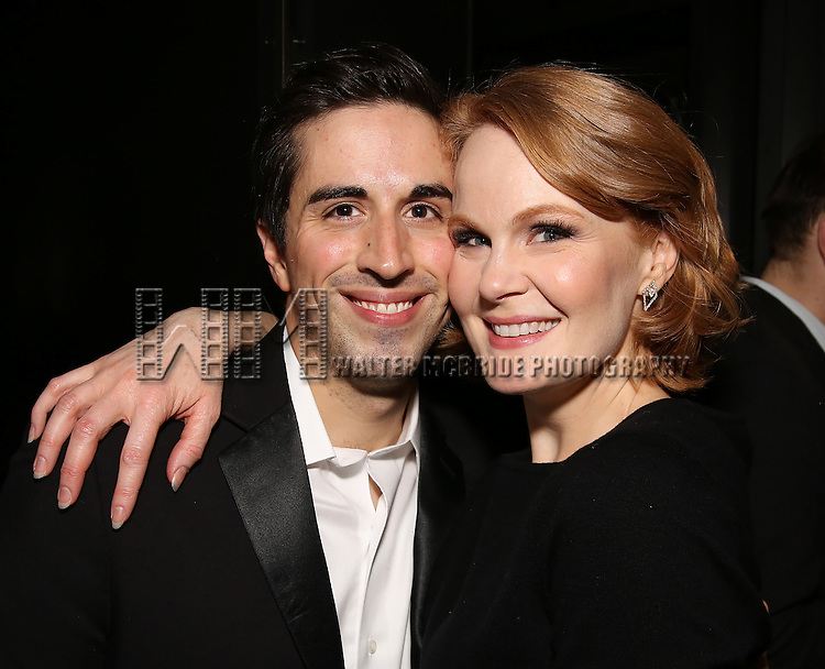 Matthew Scott and Kate Baldwin attend the DGF Reception for Andrew Lippa & Friends at Landmarc on February 1, 2017 in New York City.
