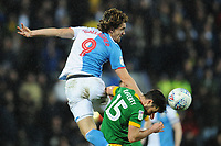 Blackburn Rovers' Sam Gallagher vies for possession with Preston North End's Joe Rafferty<br /> <br /> Photographer Kevin Barnes/CameraSport<br /> <br /> The EFL Sky Bet Championship - Blackburn Rovers v Preston North End - Saturday 11th January 2020 - Ewood Park - Blackburn<br /> <br /> World Copyright © 2020 CameraSport. All rights reserved. 43 Linden Ave. Countesthorpe. Leicester. England. LE8 5PG - Tel: +44 (0) 116 277 4147 - admin@camerasport.com - www.camerasport.com