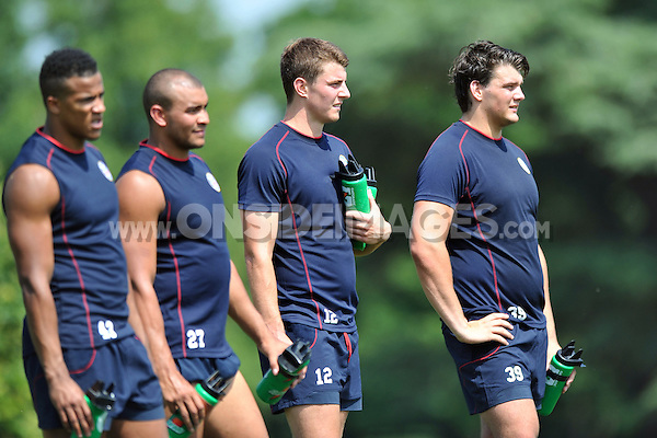 Ollie Devoto and David Sisi look on. Bath Rugby pre-season training session on July 16, 2013 at Farleigh House in Bath, England. Photo by: Patrick Khachfe/Onside Images