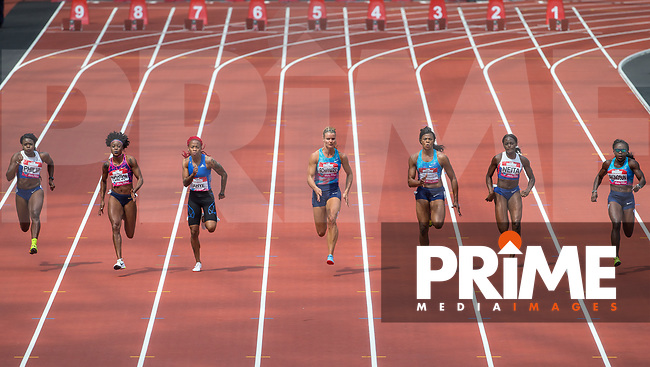 Women's 100m Final - (l-r) Asha PHILIP, Elaine THOMPSON, Michelle Lee AHYE, Dafne SCHIPPERS, Blessing Okagbare-Ighoteguonor, Daryll NEITA & Morolake AKINOSUN during the IAAF Diamond League Muller London Anniversary Games 2017 at the Queen Elizabeth Park, Olympic Park, London, England on 9 July 2017.  Photo by Andy Rowland.
