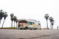 Caravan with seaguls in a parking lot Venice Beach. Santa Monica, Los Angeles California US