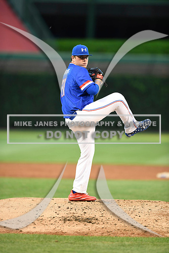 Ryan Weathers (21) of Loretto High School in Loretto, Tennessee during the Under Armour All-American Game presented by Baseball Factory on July 29, 2017 at Wrigley Field in Chicago, Illinois.  (Mike Janes/Four Seam Images)