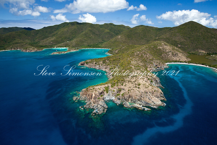 Europa Bay, Little and Great Lameshur Bay, Cabritte Point, and Grootpan Bay on the south shore<br /> Virgin Islands National Park<br /> St. John<br /> U.S. Virgin Islands