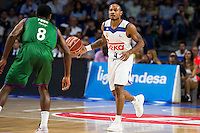 Real Madrid's player Dontaye Draper and Unicaja Malaga's player Kyle Fogg during match of Liga Endesa at Barclaycard Center in Madrid. September 30, Spain. 2016. (ALTERPHOTOS/BorjaB.Hojas) /NORTEPHOTO.COM