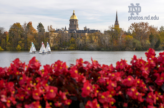 Oct. 26, 2015; St. Joseph's Lake with Golden Dome. (Photo by Barbara Johnston/University of Notre Dame)