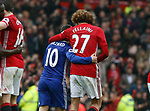 Eden Hazard of Chelsea and Marouane Fellaini of Manchester United walk off together during the English Premier League match at Old Trafford Stadium, Manchester. Picture date: April 16th 2017. Pic credit should read: Simon Bellis/Sportimage