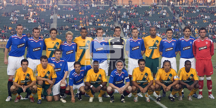 The Glasgow Rangers FC and the LA Galaxy Starting XI. The Glasgow Rangers FC beat the LA Galaxy 1-0 in a friendly match played at the Home Depot Center in Carson, California, Wednesday, May 23, 2007.