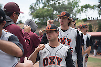 (Photo by Kirby Lee, Freelance Photographer)<br /> <br /> Occidental College's baseball team plays against Redlands University on Sunday, May 8, 2016 at Anderson Field in the SCIAC Postseason Tournament. Oxy won, 6-5.<br /> <br /> (Photo by Kirby Lee, Freelance Photographer)