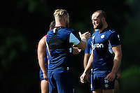 Tom Dunn of Bath Rugby speaks with team-mate Ross Batty. Bath Rugby pre-season training session on August 9, 2016 at Farleigh House in Bath, England. Photo by: Patrick Khachfe / Onside Images