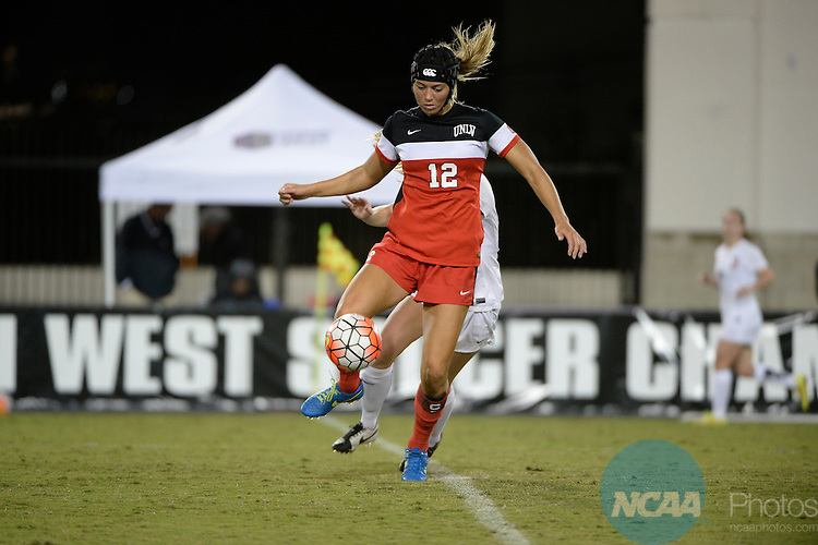 03 NOV 2015: The University of Nevada Las Vegas takes on the University of New Mexico during the 2015 Mountain West Women's Soccer Championship held at San Diego State University's Sports Deck in San Diego, CA. Scott Wachter/NCAA Photos