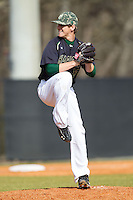 Charlotte 49ers relief pitcher Jordan Hudson (13) in action against the Canisius Golden Griffins at Hayes Stadium on February 23, 2014 in Charlotte, North Carolina.  The Golden Griffins defeated the 49ers 10-1.  (Brian Westerholt/Four Seam Images)
