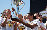 Marta hands off the 2010 WPS Championship Trophy. FC Gold Pride defeated the Philadelphia Independence 4-0 to win the 2010 WPS Championship at Pioneer Stadium in Hayward, California on September 26th, 2010.