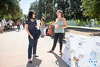 Amy Bell, Executive Service Corps Southern California<br /> 2018 InternLA student participants share their poster presentations about their summer experiences working as interns in Los Angeles. Summer Experience Expo, Sept. 13, 2018 in the Academic Quad. Hosted by Career Services.<br /> (Photo by Marc Campos, Occidental College Photographer)