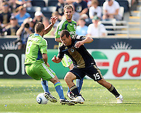 Alejandro Moreno #15 of the Philadelphia Union cuts past Peter Vagenas #8 of the Seattle Sounders FC during the first MLS match at PPL stadium in Chester, Pa. on June 27 2010. Union won 3-2.