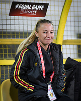 20191108 - Zapresic , BELGIUM : French Tahiti women's coach Stephanie Spielmann pictured during the female soccer game between the womensoccer teams of  Croatia and the Belgian Red Flames , the third women football game for Belgium in the qualification for the European Championship round in group H for England 2021, friday 8 th october 2019 at the NK Inter Zapresic stadium near Zagreb , Croatia .  PHOTO SPORTPIX.BE | DAVID CATRY