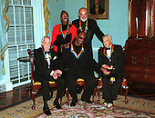 Group shot of the 1999 Kennedy Center Honorees at the State Department in Washington, D.C. on December 4, 1999. Left to Right: Jason Robards, Judith Jamison, Stevie Wonder, Sean Connery and Victor Borge..Credit: Robert Trippett-Pool / CNP.