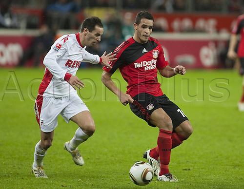 Moritz Mueller Leverkusen Petit Cologne against Renato Augusto. Photo: Imago/Actionplus. Editorial Use UK.