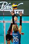 Risa Shinnabe of Japan (L) fights for the ball with Agostina Denisse Soria of Argentina (R) during the FIVB Volleyball Nations League Hong Kong match between Japan and Argentina on May 31, 2018 in Hong Kong, Hong Kong. Photo by Marcio Rodrigo Machado / Power Sport Images