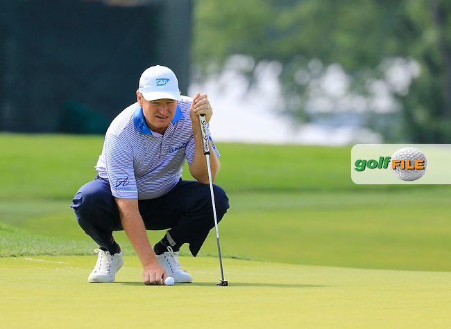 Ernie Els (RSA) lines up his ball on the 3rd green during Friday's Round 1 of the 2016 U.S. Open Championship held at Oakmont Country Club, Oakmont, Pittsburgh, Pennsylvania, United States of America. 17th June 2016.<br /> Picture: Eoin Clarke | Golffile<br /> <br /> <br /> All photos usage must carry mandatory copyright credit (&copy; Golffile | Eoin Clarke)