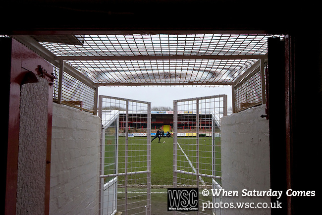 Workington AFC 0 Boston United 1, 24/02/2008. Borough Park, Blue Square North.  Boston players going through their pre=match warm-up prior to the Blue Square North fixture between hosts Workington AFC (red) and Boston United at Borough Park. The visitors won with a solitary sixth-minute goal by Jon Rowan in front of 388 spectators. Both Workington AFC and Boston United were members of the Football League, the Cumbrians losing League status in 1977 while the Lincolnshire club were relegated in 2007 and demoted two divisions for financial irregularities. Photo by Colin McPherson.