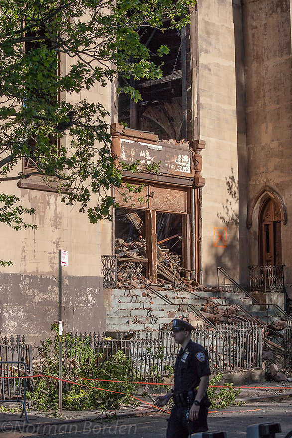 Historic synagogue Beth Hamedrash Hagodol at 60 Norfolk Street on NYC's Lower East Side on May 16, 2017, one day after it was destroyed by fire set by arsonist.