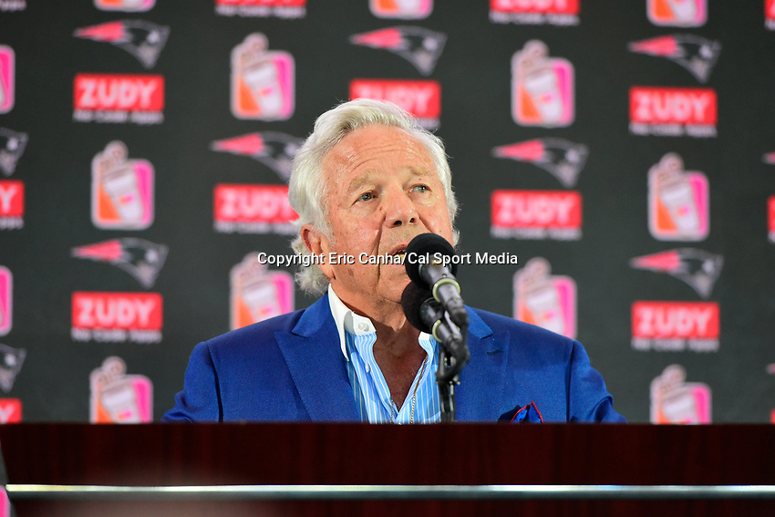 August 9, 2017: Robert Kraft, owner of the New England Patriots speaks at the retirement announcement of Vince Wilfork held at the Optum Field Lounge, in Gillette Stadium, in Foxborough, Mass.