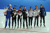 SCHAATSEN: ERFURT: Gunda Niemann Stirnemann Eishalle, 22-03-2015, ISU World Cup Final 2014/2015, Wold Cup winners, Pavel Kulizhnikov (RUS), Nao Kodaira (JPN), Martina Sábliková (CZE), Marrit Leenstra (NED), Brittany Bowe (USA), Heather Richardson (USA), Jorrit Bergsma (NED), ©foto Martin de Jong