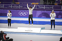 OLYMPIC GAMES: PYEONGCHANG: 18-02-2018, Gangneung Oval, Long Track, Final results 500m Ladies, Sang-Hwa Lee (KOR), Nao Kodaira (JPN), Karolina Erbanova (CZE), ©photo Martin de Jong