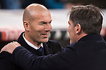 Manager Zinedine Zidane (l) of Real Madrid greets Eduardo Berizzo manager of RC Celta de Vigo prior to the Copa del Rey 2016-17 Quarter-final match between Real Madrid and Celta de Vigo at the Santiago Bernabéu Stadium on 18 January 2017 in Madrid, Spain. Photo by Diego Gonzalez Souto / Power Sport Images