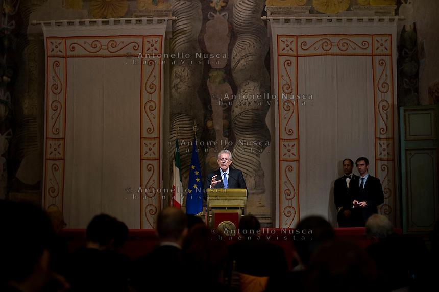 Mario Monti durante il suo intervento a Palazzo Giustiniani dopo il primo giorno di incontri con i partiti politici..Italy's new premier-designate Mario Monti addresses the media, at the Senate.