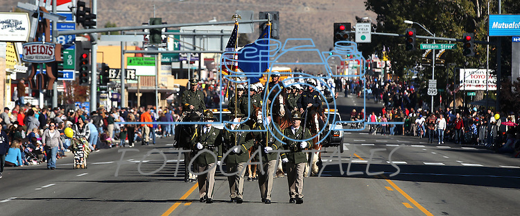 The Carson City Sheriff's Honor Guard walks in the annual Nevada Day Parade in Carson City, Nev., on Saturday, Oct. 28, 2011..Photo by Cathleen Allison
