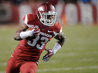 NWA Media/ J.T. Wampler -  Arkansas' Korliss Marshall looks for running room during the first quarter against LSU'Saturday Nov. 15, 2014 at Donald W. Reynolds Razorback Stadium.