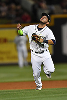 Shortstop Michael Paez (3) of the Columbia Fireflies plays defense in a game against the Lexington Legends on Saturday, April 22, 2017, at Spirit Communications Park in Columbia, South Carolina. Lexington won, 4-0. (Tom Priddy/Four Seam Images)