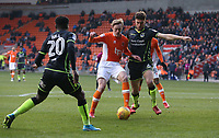 Blackpool's Sean Longstaff battles with Bristol Rovers' Ryan Sweeney (left) and Marc Bola<br /> <br /> Photographer Stephen White/CameraSport<br /> <br /> The EFL Sky Bet League One - Blackpool v Bristol Rovers - Saturday 13th January 2018 - Bloomfield Road - Blackpool<br /> <br /> World Copyright &copy; 2018 CameraSport. All rights reserved. 43 Linden Ave. Countesthorpe. Leicester. England. LE8 5PG - Tel: +44 (0) 116 277 4147 - admin@camerasport.com - www.camerasport.com