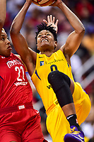 Washington, DC - June 15, 2018: Los Angeles Sparks guard Alana Beard (0) drives to the basket against Washington Mystics forward Tianna Hawkins (21) during game between the Washington Mystics and Los Angeles Sparks at the Capital One Arena in Washington, DC. (Photo by Phil Peters/Media Images International)