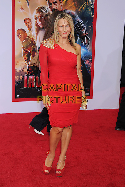 "Sarah Farooqui.The Los Angeles Premiere of ""Iron Man 3"" at El Capitan Theatre in Hollywood, California, USA..April 24th, 2013.full length red one shoulder sleeve dress .CAP/ROT/TM.©Tony Michaels/Roth Stock/Capital Pictures"