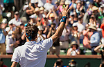 March 15, 2019: Roger Federer (SUI) waves to the crowd after defeating Hubert Hurkacz (POL) 6-4, 6-4 at the BNP Paribas Open at the Indian Wells Tennis Garden in Indian Wells, California. ©Mal Taam/TennisClix/CSM