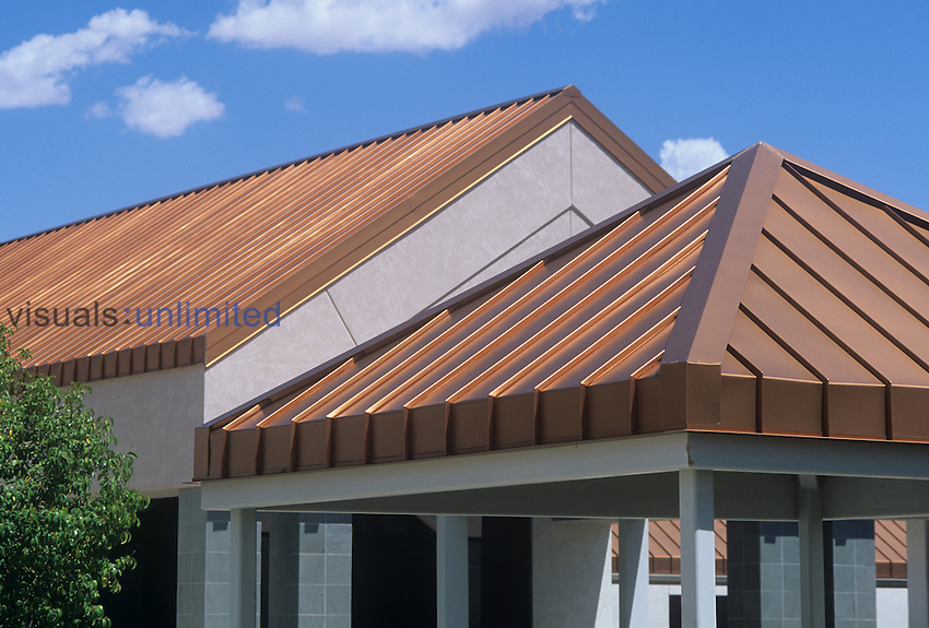 A copper (Cu) roof on a building.