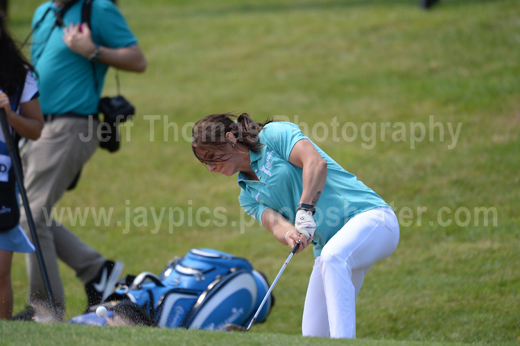 World champion curling skip Eve Muirhead clears a bunker during The 2017 Celebrity Cup golf tournament at the Celtic Manor Resort, Newport, South Wales. 1.07.2017 <br /> <br /> <br /> Jeff Thomas Photography -  www.jaypics.photoshelter.com - <br /> e-mail swansea1001@hotmail.co.uk -<br /> Mob: 07837 386244 -
