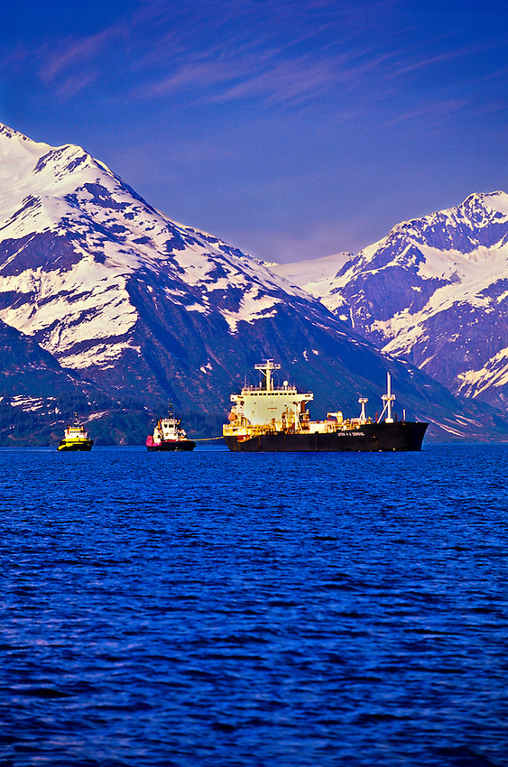 Oil tankers in Prince William Sound, near Valdez, Alaska USA