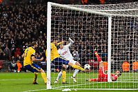 Andrea Barzagli of Juventus clears the ball off the line after a header from Tottenham Hotspur's Harry Kane <br /> <br /> Photographer Craig Mercer/CameraSport<br /> <br /> UEFA Champions League Round of 16 Second Leg - Tottenham Hotspur v Juventus - Wednesday 7th March 2018 - Wembley Stadium - London <br />  <br /> World Copyright &copy; 2017 CameraSport. All rights reserved. 43 Linden Ave. Countesthorpe. Leicester. England. LE8 5PG - Tel: +44 (0) 116 277 4147 - admin@camerasport.com - www.camerasport.com